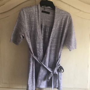 Short sleeve gray/white open front cardigan